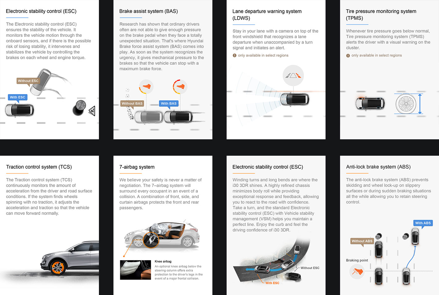 Mobile web design introducing the dynamic features of Hyundai cars