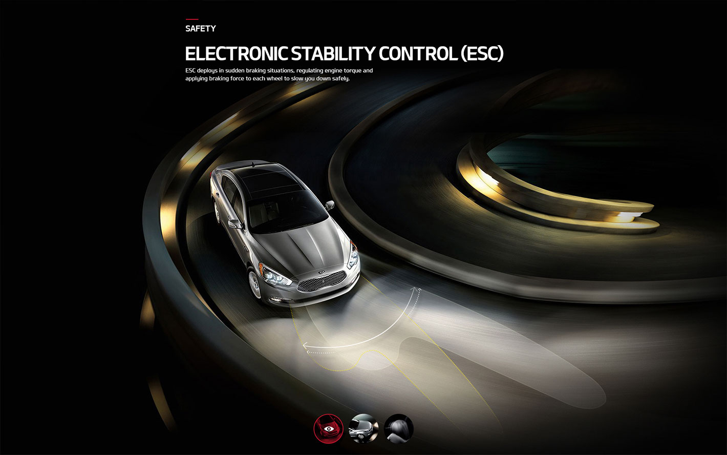 Web design illustrating Kia Motors' Electronic Stability Control (ESC) safety feature