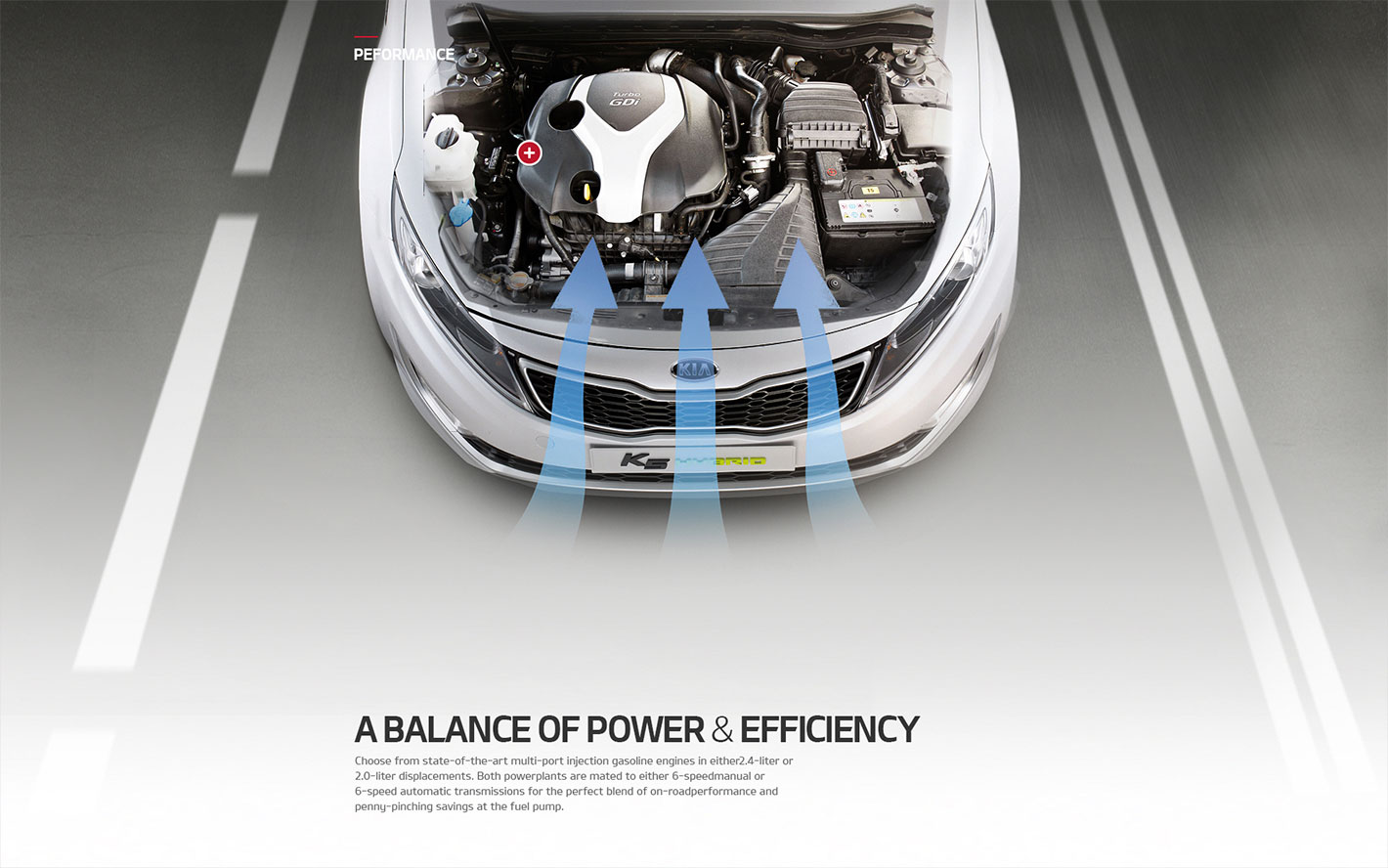 Web design illustrating Kia Motors' balance of power and efficiency feature