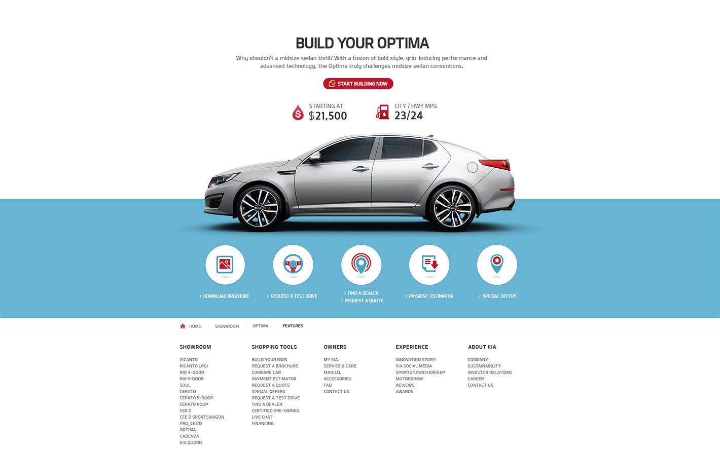 Web design using icons for Kia Motors Sample Site