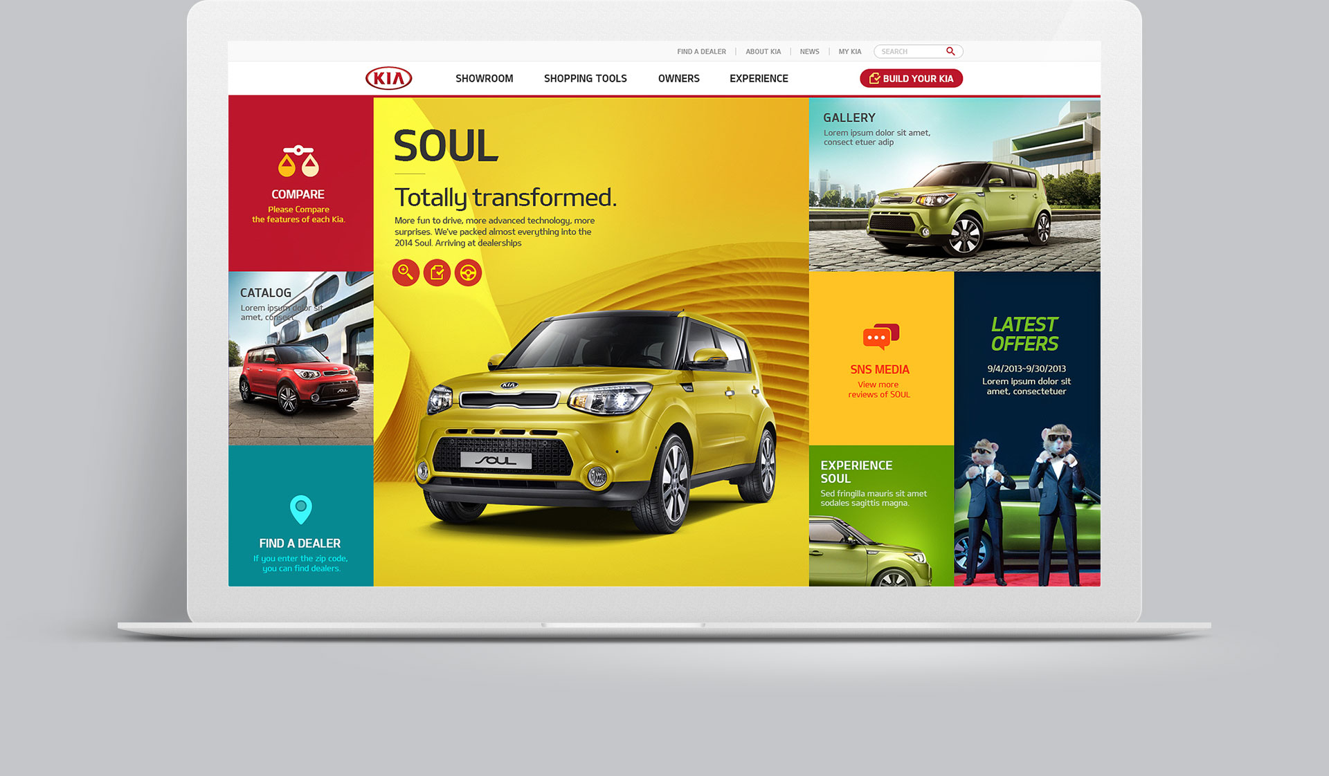 PC web design for Kia Motors Sample Site